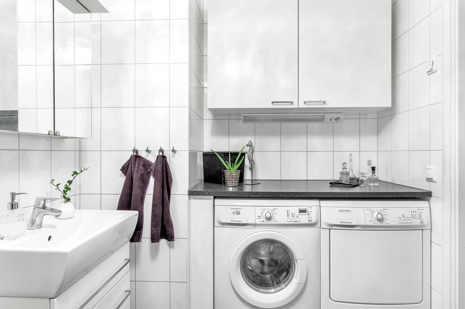 Badrum med tvättpelare